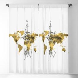Gold World Map 2 Blackout Curtain