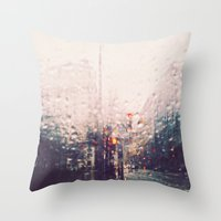 dc Throw Pillows featuring DC Rain by elle moss