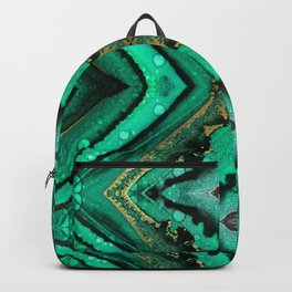 Malachite-inspired alcohol ink art with hints of emerald green, gold and black Backpack