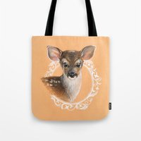 fawn Tote Bags featuring Fawn by Gribanessa
