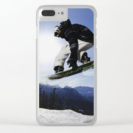 Born To Fly Snowboarder & Mountains Clear iPhone Case