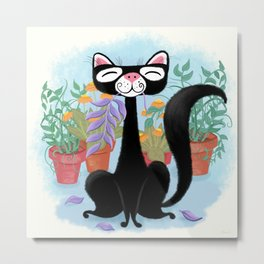 The Kitty Cat Who Loved Plants Metal Print