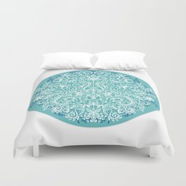 Spring Arrangement - teal & white floral doodle Duvet Cover