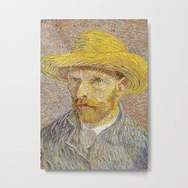 Self-Portrait with Straw Hat Metal Print