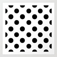 polka dots Art Prints featuring Polka Dots (Black/White) by 10813 Apparel