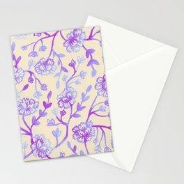 Watercolor Peonies - Peach Violet Stationery Cards