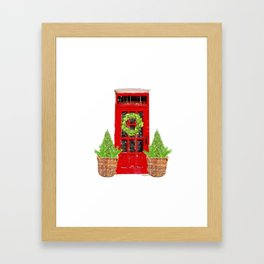 Red Christmas Door with Boxwood Wreath Framed Art Print