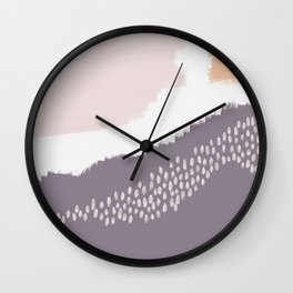 NORA :: Modern Abstract Painting Brush Strokes Color Palette Light Pink Mustard Gold Blue Lavender Wall Clock