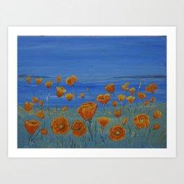 Californian Poppies On The Coast Art Print