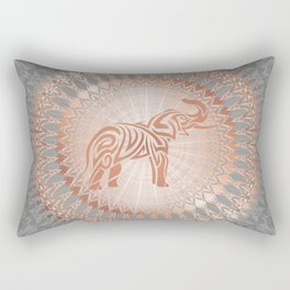 Rose Gold Gray Elephant Mandala Rectangular Pillow