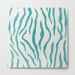 Aqua Teal Turquoise Solid Color Tiger Stripes Pattern on Alabaster White - Aquarium SW 6767 Metal Print