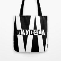 mandela Tote Bags featuring Mandela tribute by Brian Raggatt