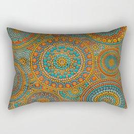 Dot Art Circles Orange and Blues Rectangular Pillow