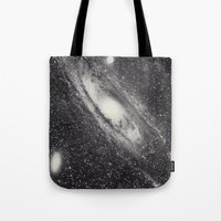 astronomy Tote Bags featuring Vintage Astronomy-Nebula M31 Andromeda by lacelace