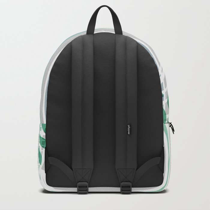Multi-colored striped pattern with green tones . Backpack