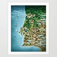 portugal Art Prints featuring Portugal by Steebz