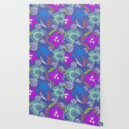 Electric Neon Floral Wallpaper