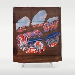 Great Clemson Tiger Paw Shower Curtain