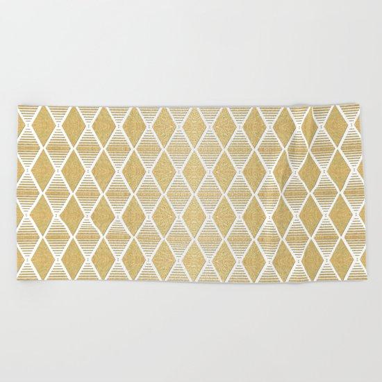 White and Gold Geometric Pattern Beach Towel