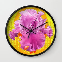 PINK FRILLY GARDEN IRIS YELLOW ART Wall Clock