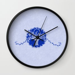 Vintage Floral Sapphire Blue Wall Clock
