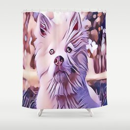 The White Finnish Lapphund Shower Curtain