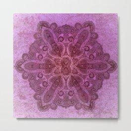 big paisley dark mandala on pink Metal Print