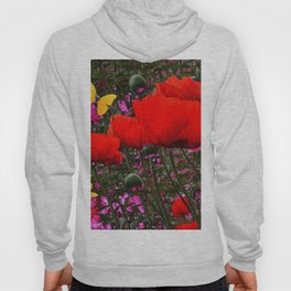 ORANGE ORIENTAL POPPIES & YELLOW BUTTERFLIES Hoody