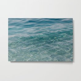 Clear Blue Sea. Waves, Ripples, Pebbles. 02 Metal Print