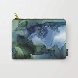 Blue Green Waves Abstract Ink Painting Carry-All Pouch