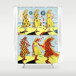 Red Bullets Dress Girl On Fire Shower Curtain