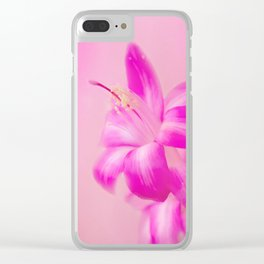 Pink Christmas Cactus Clear iPhone Case