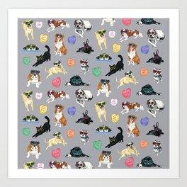 Valentine's Day Candy Hearts Puppy Love - Grey Art Print