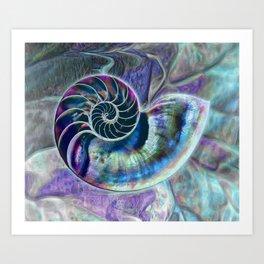 Iridescent Shell Snail Fossil Art Print