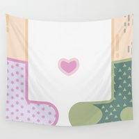 socks Wall Tapestries featuring Love by socks by Maria Caballer