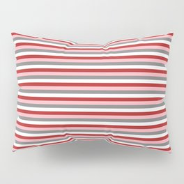 Gray, White, Red, and Light Pink Pattern of Stripes Pillow Sham