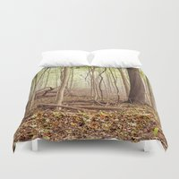 indiana jones Duvet Covers featuring Indiana woods by Bonnie Jakobsen-Martin