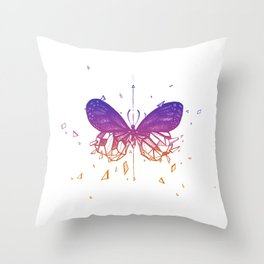 Geometric Butterfly - Blue To Orange Throw Pillow