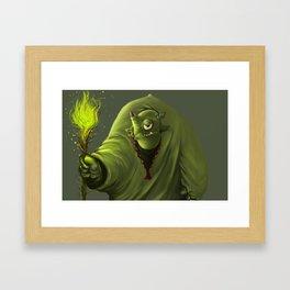 Green shaman orc Framed Art Print