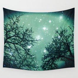 Aqua Skies N Stars Through The Trees Wall Tapestry