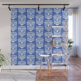 Tiki Pattern Blue Wall Mural