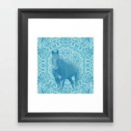 horse and wattle mandala in blue Framed Art Print