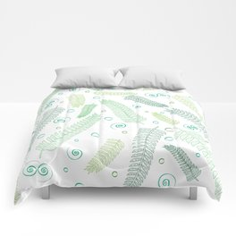 Green palm tree leaves Comforters