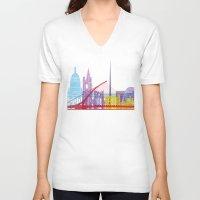 dublin V-neck T-shirts featuring Dublin skyline pop by Paulrommer