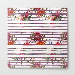 Modern pink orange tropical floral stripes pattern Metal Print