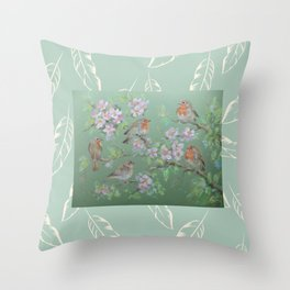 Singing birds & Blossom Throw Pillow