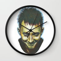 radiohead Wall Clocks featuring Radiohead by Laura O'Connor