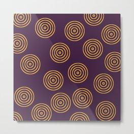 Gold rings pattern on purple Metal Print
