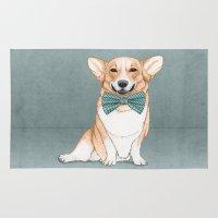 corgi Area & Throw Rugs featuring Corgi Dog by Barruf