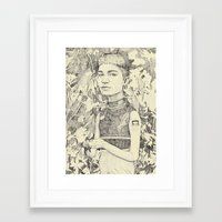 grimes Framed Art Prints featuring grimes by withapencilinhand
